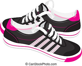 Pair of black sneakers. Vector illustration