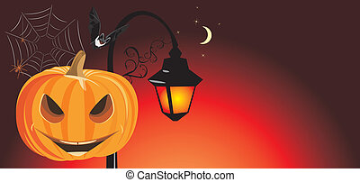 Festive Halloween banner Vector illustration