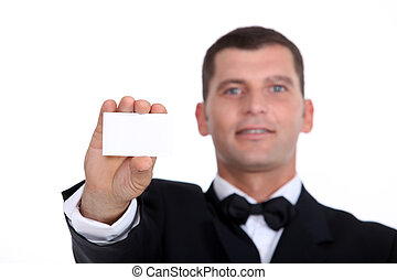 Gentleman showing businesscard