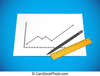 Bussines diagram with pen and ruler