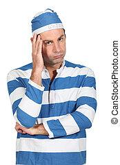man in convict costume