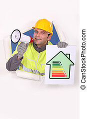 craftsman talking through a megaphone and holding an energy consumption label
