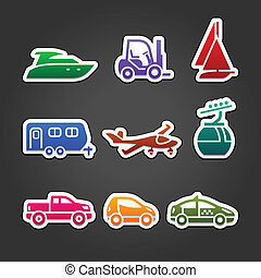 Set labels color transport icons - Set labels multicolor...