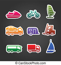 Set simple stickers color transport