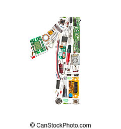 "Number ""1"" made of electronic components isolated in white..."