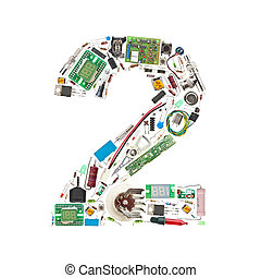 """Number """"2"""" made of electronic components isolated in white..."""