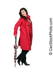 Woman in red with an umbrella