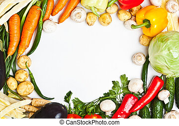 Colorful vegetable frame, healthy food concept