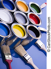 Paint brush and cans - Let your world be colourful!