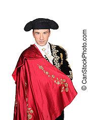 hombre, Matador, disfraz, rojo, capa