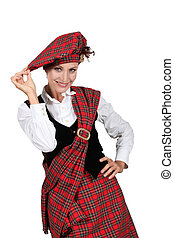 Woman wearing a kilt