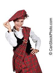 mujer, Llevando, Falda escocesa