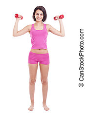 young woman lifting dumbbells