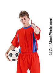 Soccer player whit ball cut out on a white background