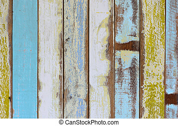 The old painted wooden wall with  variety color.