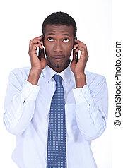 africano, hombre de negocios, tenencia, dos,...