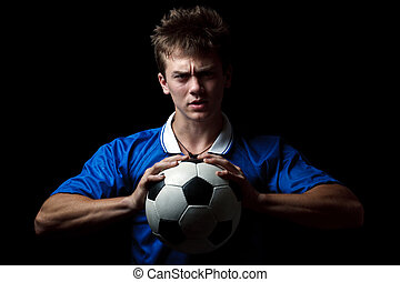 Angry soccer player with a ball