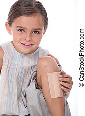 Girl with leg injured