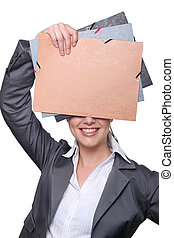 Office worker holding folders