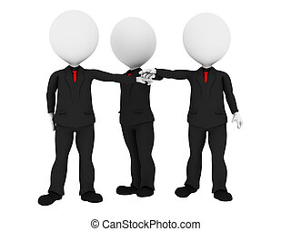 3d rendered business people in uniform putting hands...