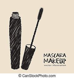 mascara illustration isolated on white background, vector...