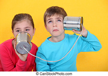 niños, estaño, lata, teléfono