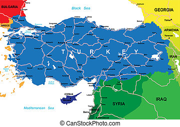 Turkey map - Highly detailed map of Turkey with main cities...