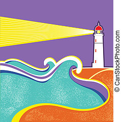 Seascape horizon. Vector illustration with lighthouse for...