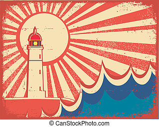 Seascape horizon. Vector illustration with lighthouse on...