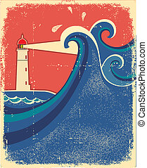 Lighthouse and sea waves.Vector grunge background