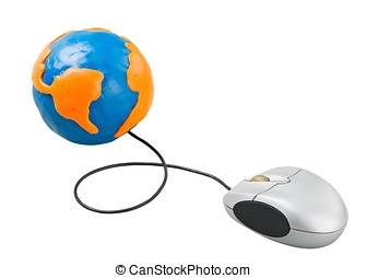 computer mouse connected to the globe - computer mouse...