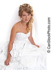 smiling beautiful bride Girl in wedding dress on white...