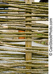 Background fence weaven wooden branch house yard