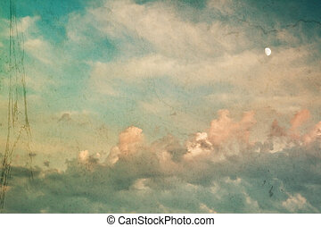 Vintage background - Romantic vintage background with clouds...