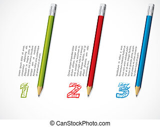 Infographic design with pencils and numbered info