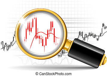 magnifier and stock chart - Magnifier and stock chart...
