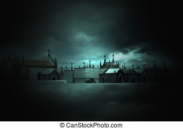 Gated - Photo composition with cemetery and clouds that can...
