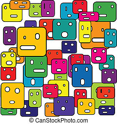 Abstract squares with facial expressions