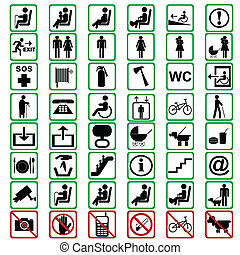 International signs used in tranportation means