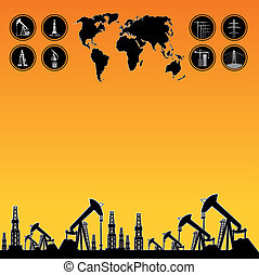 Map and oil rig - Text field for website over White World...
