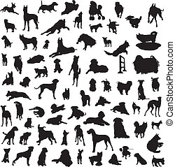 large collection of different silho - set of silhouettes of...