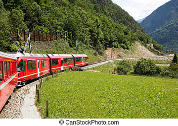 Swiss mountain train Bernina Express crossed Alps via...