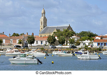 Port of Saint-Gilles-Croix-de-Vie with the church...