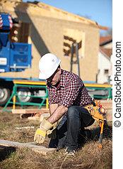 construção, local, carpinteiro