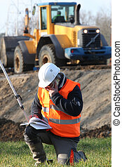 Surveyor working on-site