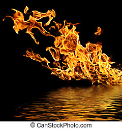 Fire on the water Isolation on a black background...