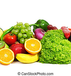 fruits and vegetables isolated on a white background...