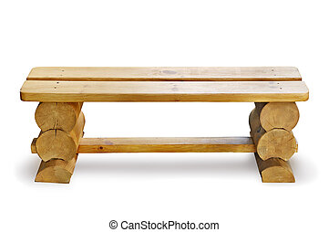 wooden bench isolated on a white background...