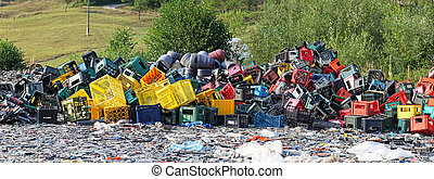 Recycle plastic - Big bunch of plastic waste for recycling