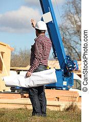 construção,  supervisor, local